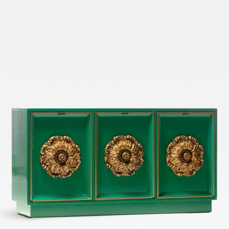 James Mont James Mont Style Hollywood Regency Green Lacquered Credenza with Gold Medallions