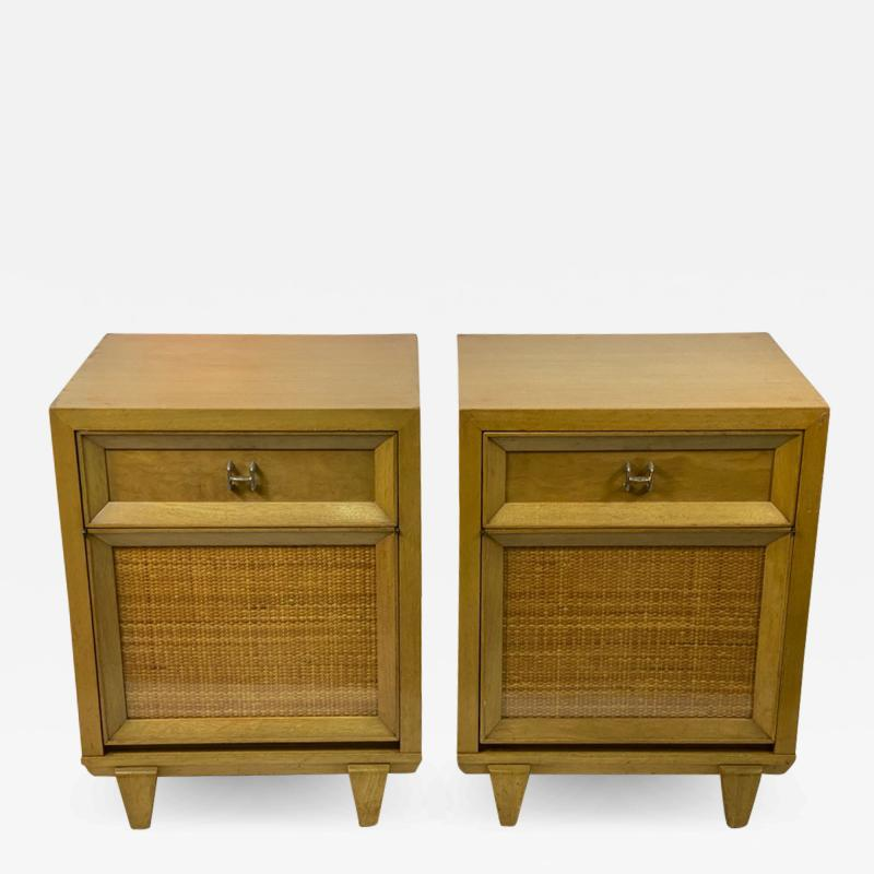 James Mont MID CENTURY WOVEN CANE ACCENT SIDE TABLES NIGHTSTANDS