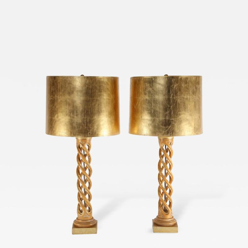 James Mont Pair of James Mont Carved Helix Table Lamps