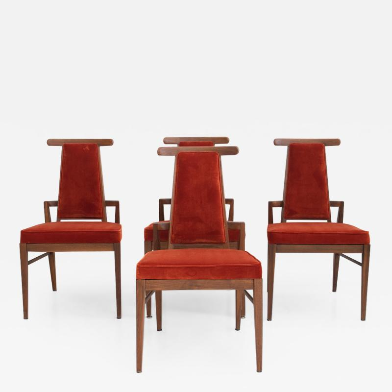 James Mont Set of Four Wood and Velvet Chairs by James Mont