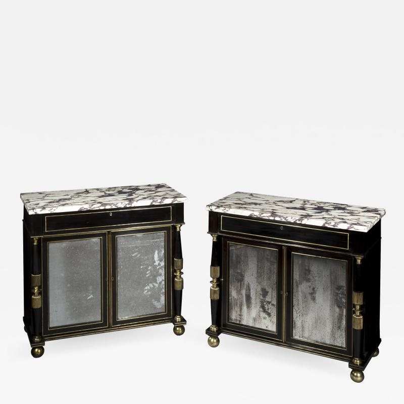 James Newton Pair of Regency Ebonised Marble Top Side Cabinets