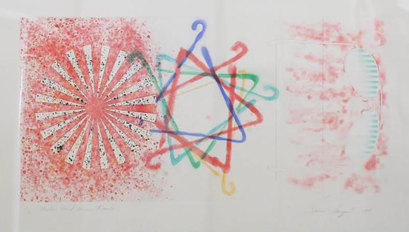 James Rosenquist Signed Numbered James Rosenquist Number Wheel Dinner Triangle 1978