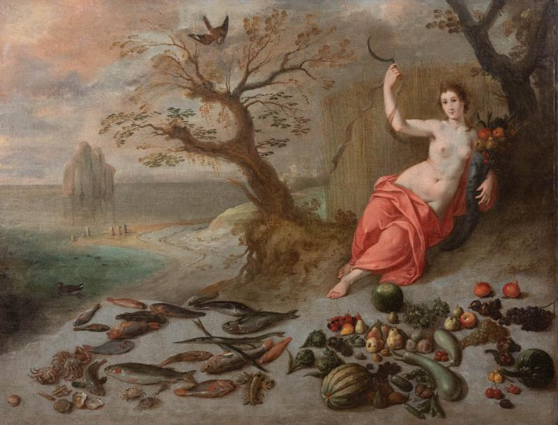Jan Boets CERES WITH HER SICKLE AND CORNUCOPIA late 17th century