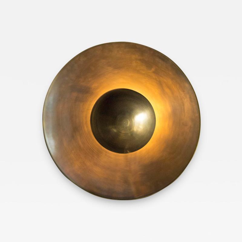 Jan Garncarek Metropolis Brass Sconce by Jan Garncarek