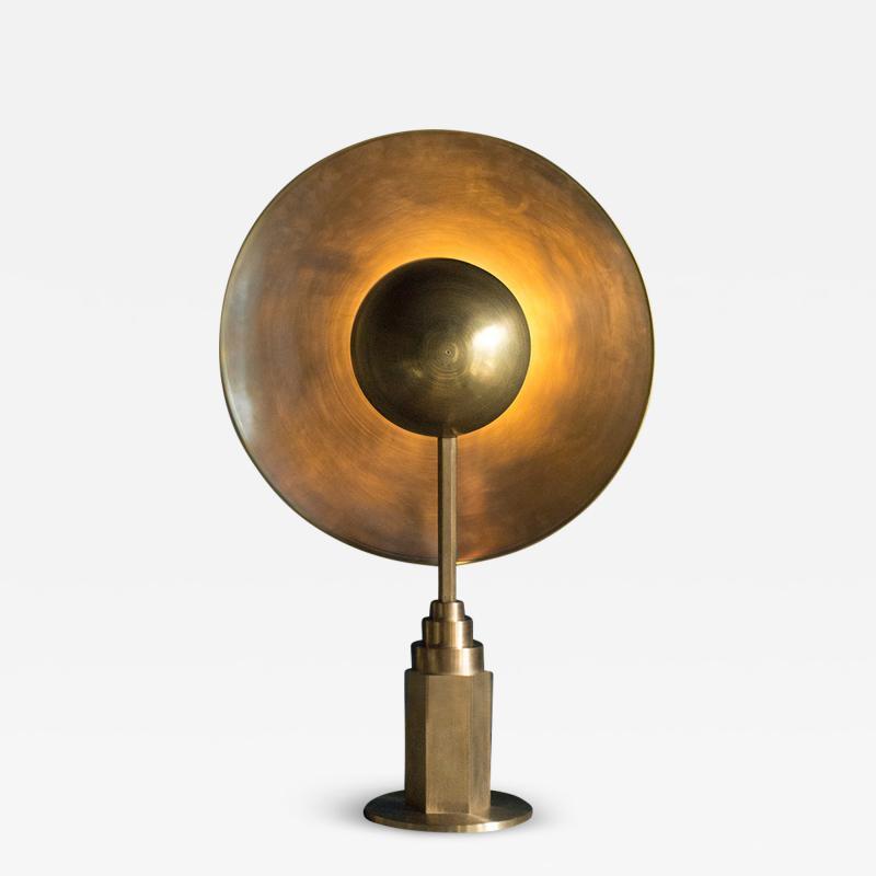Jan Garncarek Metropolis Brass Table Lamp by Jan Garncarek