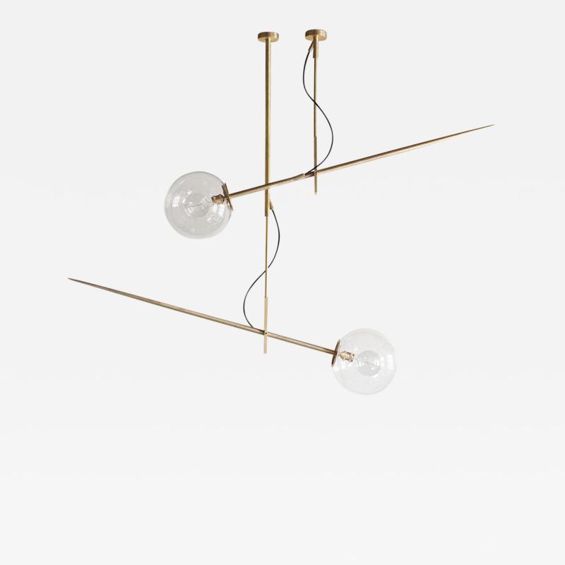 Jan Garncarek Pair of Hasta Brass Hanging Lamps Jan Garncarek