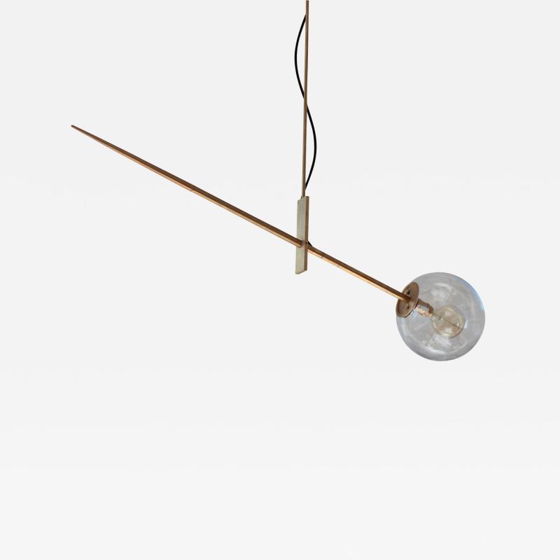 Jan Garncerak Hasta Hand Made Brass and Blown Glass Suspension Lamp