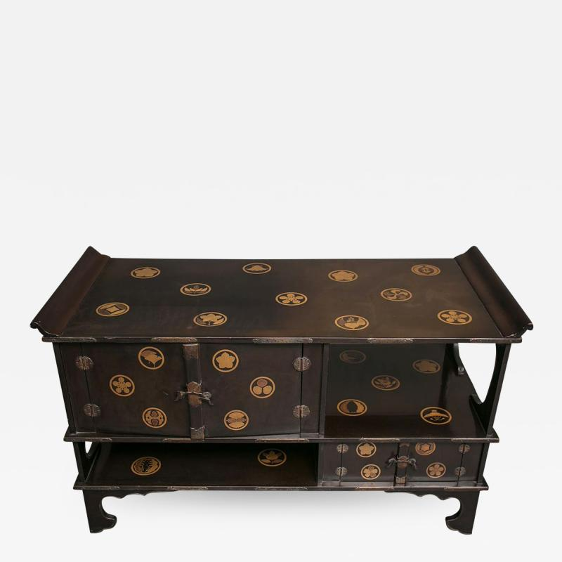 Japanese Black Lacquer Tana tiered tea cabinet with Gold Crest Design