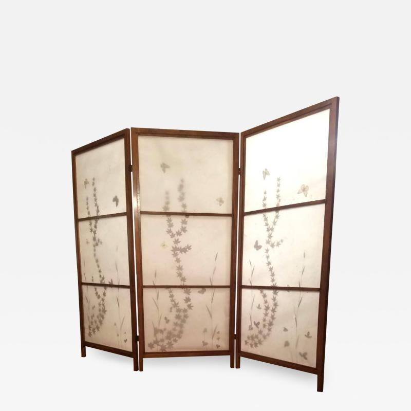 Japanese Floor Screen Shoji Paper Natural Elements Elmwood Fitted Frame 1960