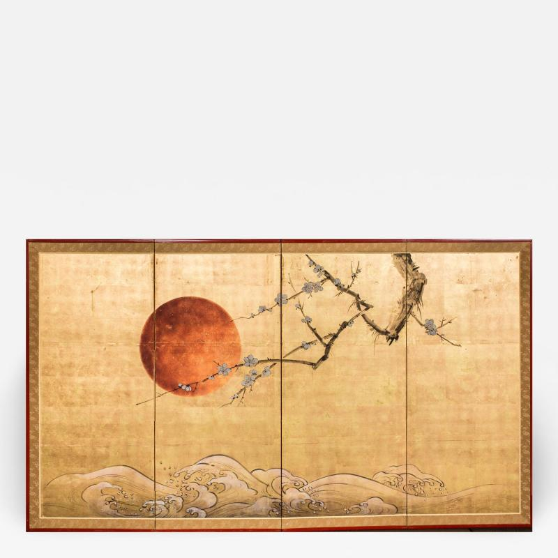 Japanese Four Panel Screen Plum Blossom and Sun Over Cresting Waves