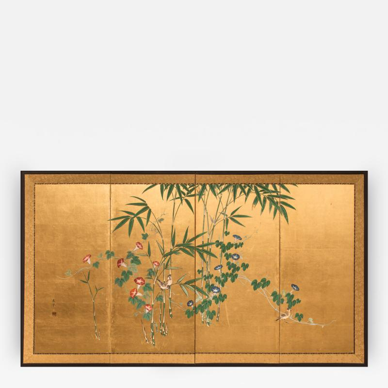 Japanese Four Panel Screen Young Bamboo and Morning Glory