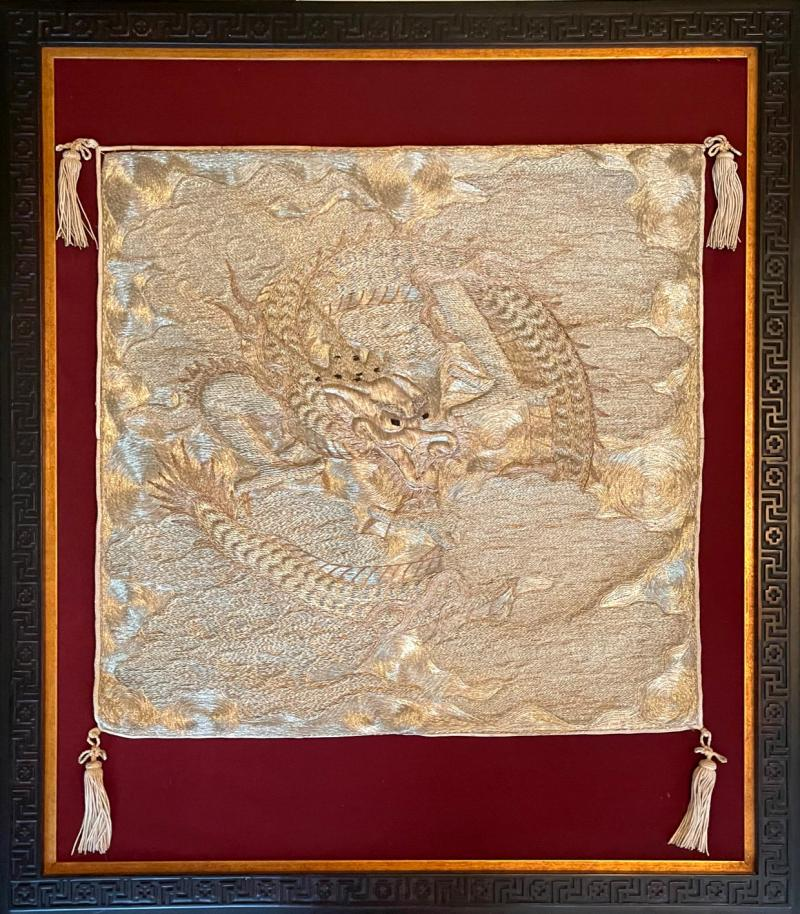 Japanese Fukusa Relief Embroidery Textile Art of Dragon