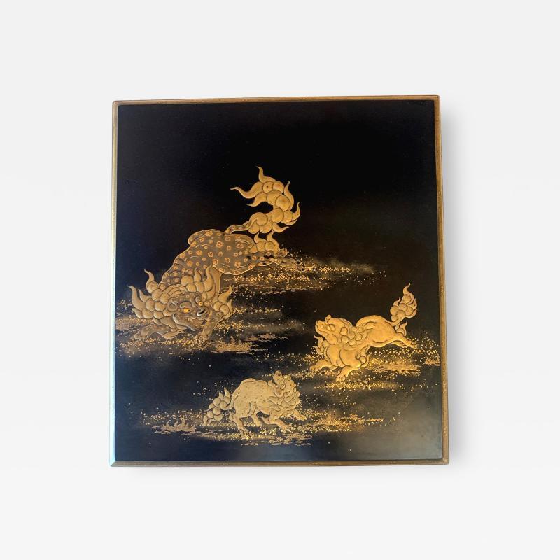 Japanese Lacquer Box with Fine Maki e Decoration Meiji Period