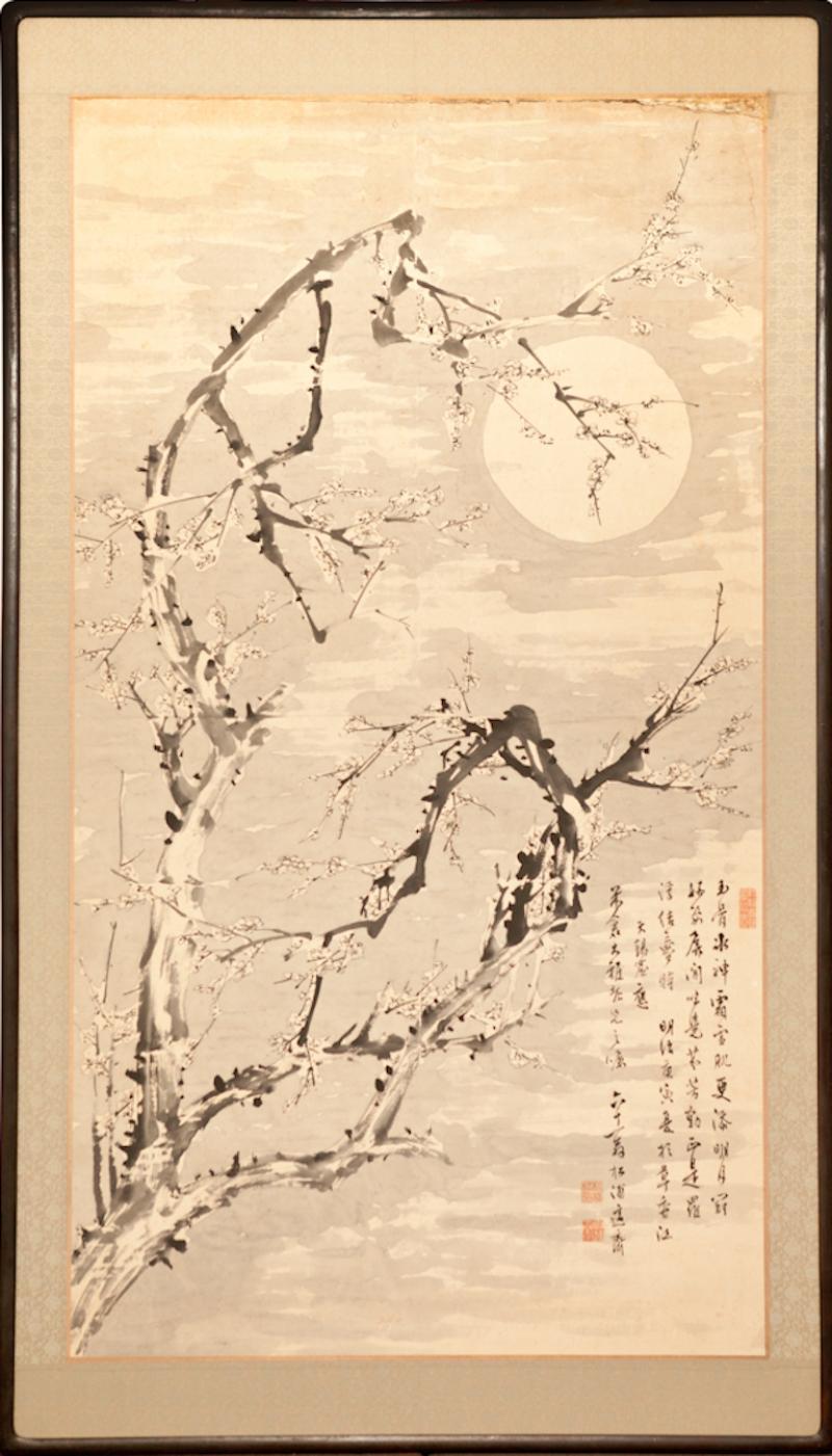 Japanese Single Panel Painting Moon and Plum Design Winter Scene