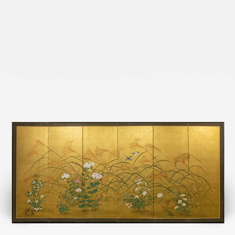 Japanese Six Panel Screen A Garden For All Seasons