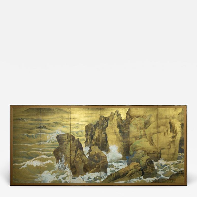 Japanese Six Panel Screen Craggy Coastal Landscape