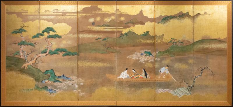 Japanese Six Panel Screen Glorious Painting of Lady Murasaki on Lake Biwa