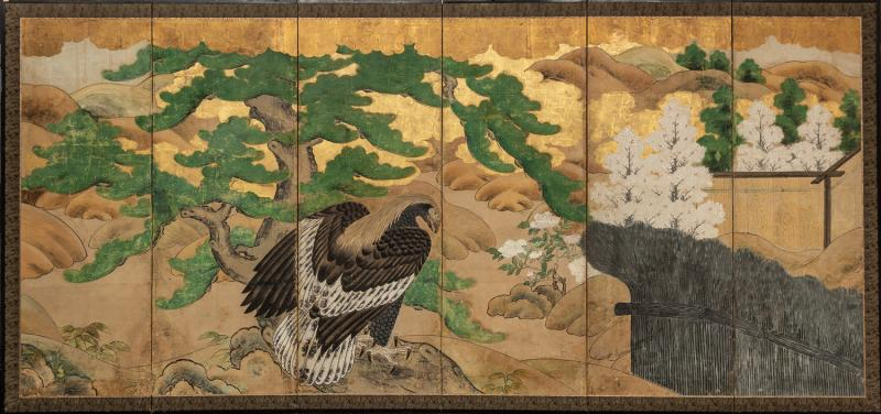 Japanese Six Panel Screen Hawk with Ancient Pine