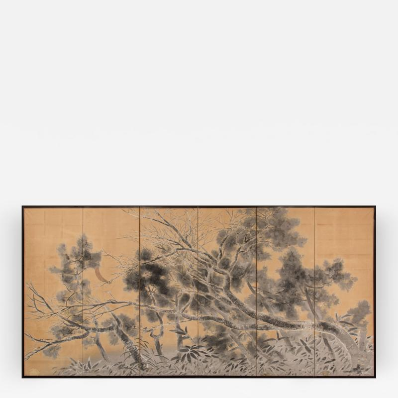Japanese Six Panel Screen Late Autumn Pine and Crescent Moon