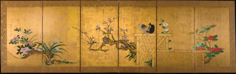 Japanese Six Panel Screen Late Winter Into Early Spring