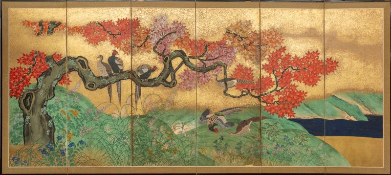 Japanese Six Panel Screen Pheasants In an Autumn Landscape