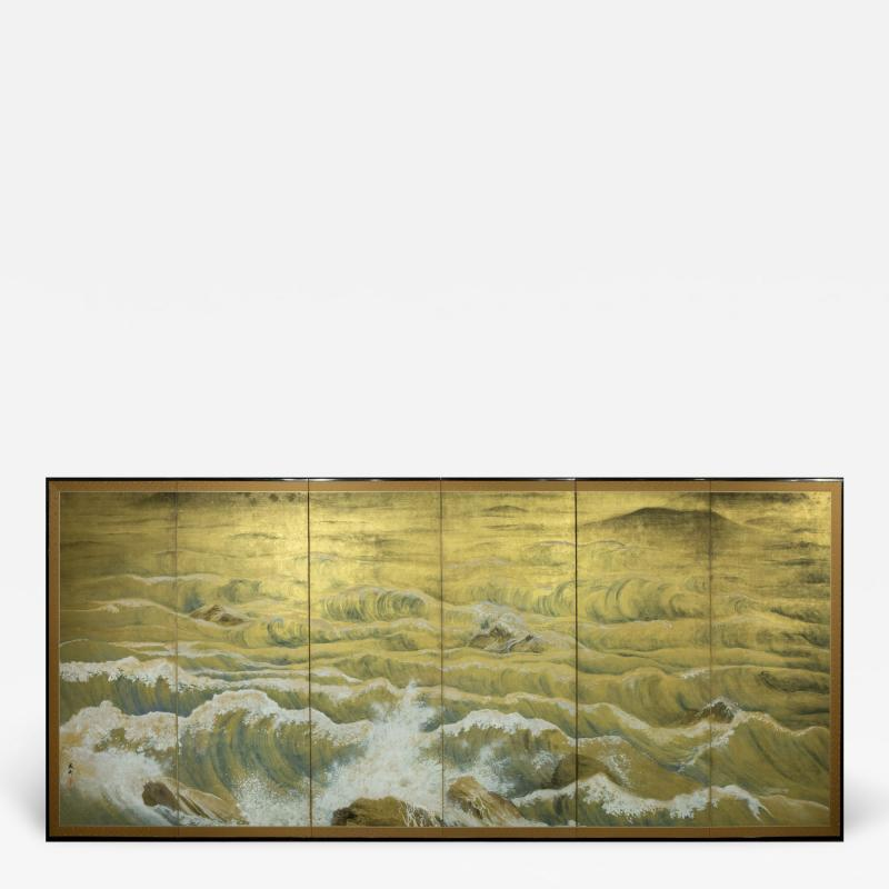 Japanese Six Panel Screen Rocks and Waves in a Coastal Landscape