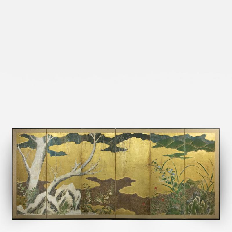 Japanese Six Panel Screen Winter Into Spring
