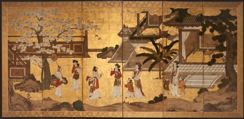 Japanese Six Panel Screen Women of the Court in the Garden