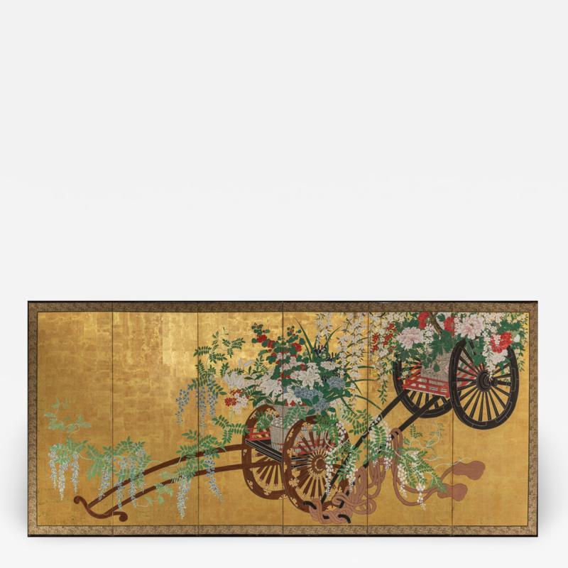 Japanese Six Panel Screens Pair of Festival Carts