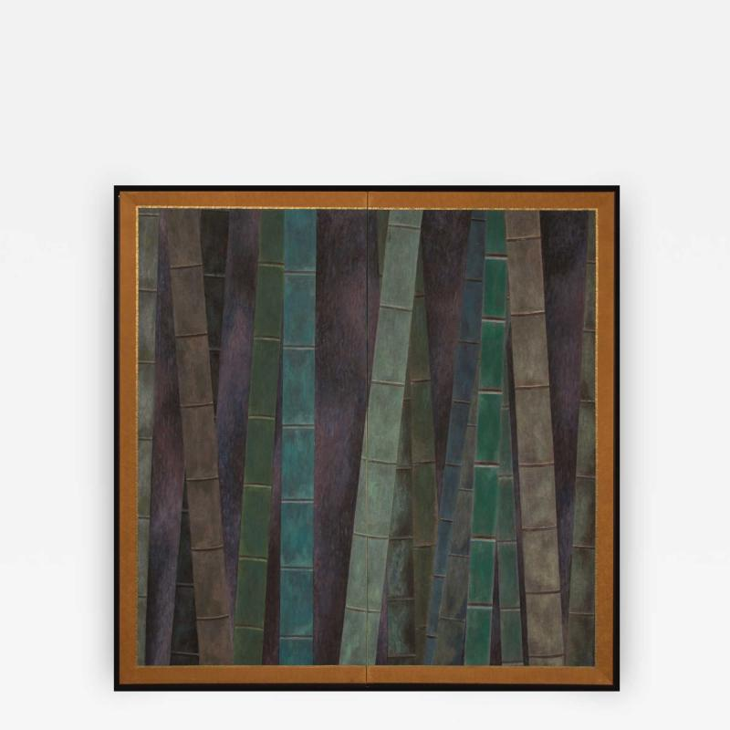 Japanese Two Panel Screen Abstract Bamboo Forest at Night