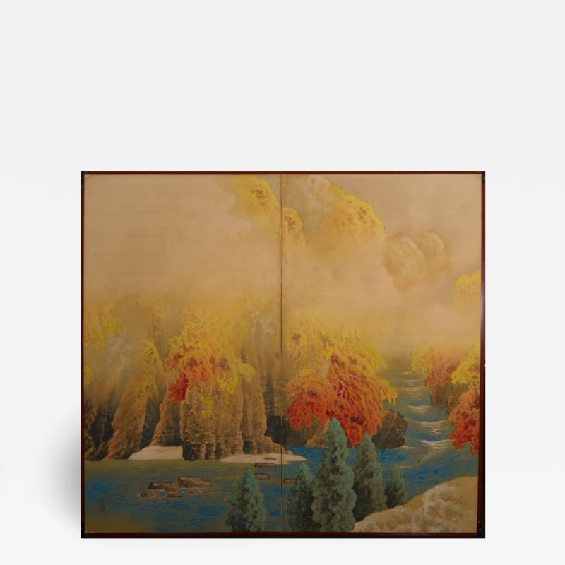 Japanese Two Panel Screen Autumn Colored Canyon in the Mist