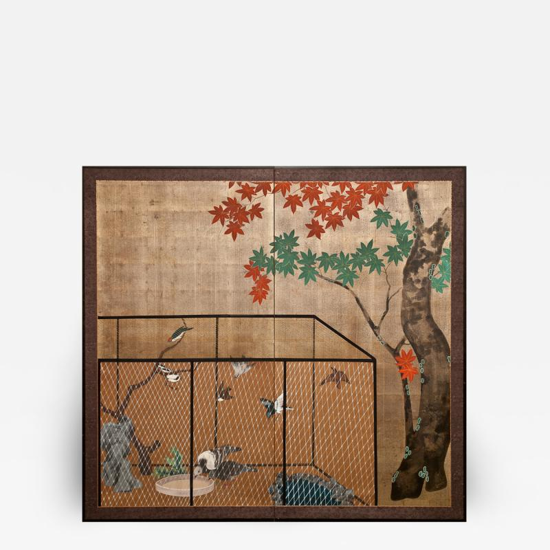 Japanese Two Panel Screen Aviary Shaded By A Maple Tree