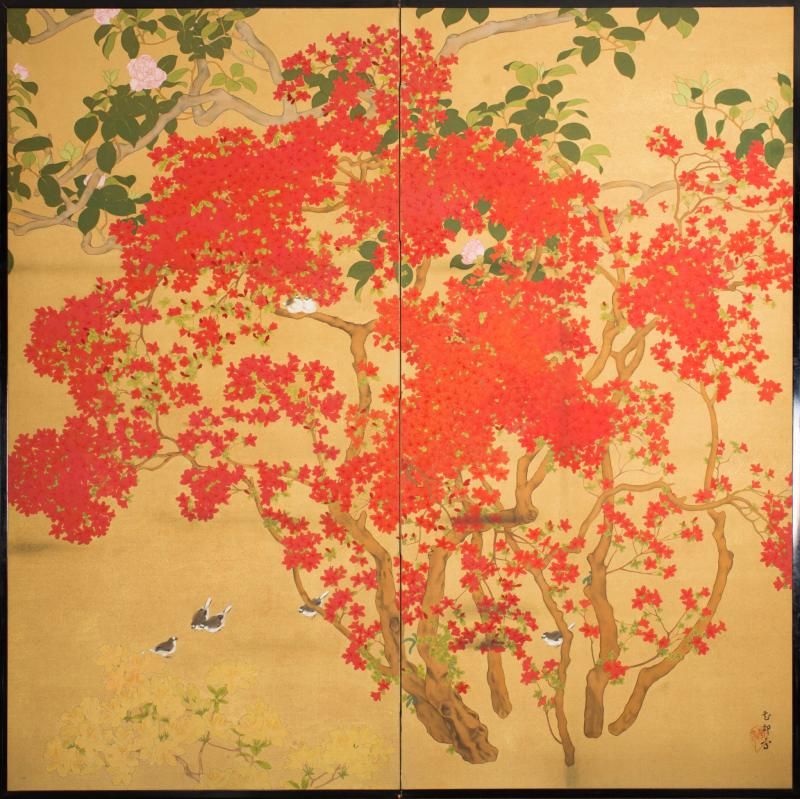 Japanese Two Panel Screen Azalea Tree With Birds