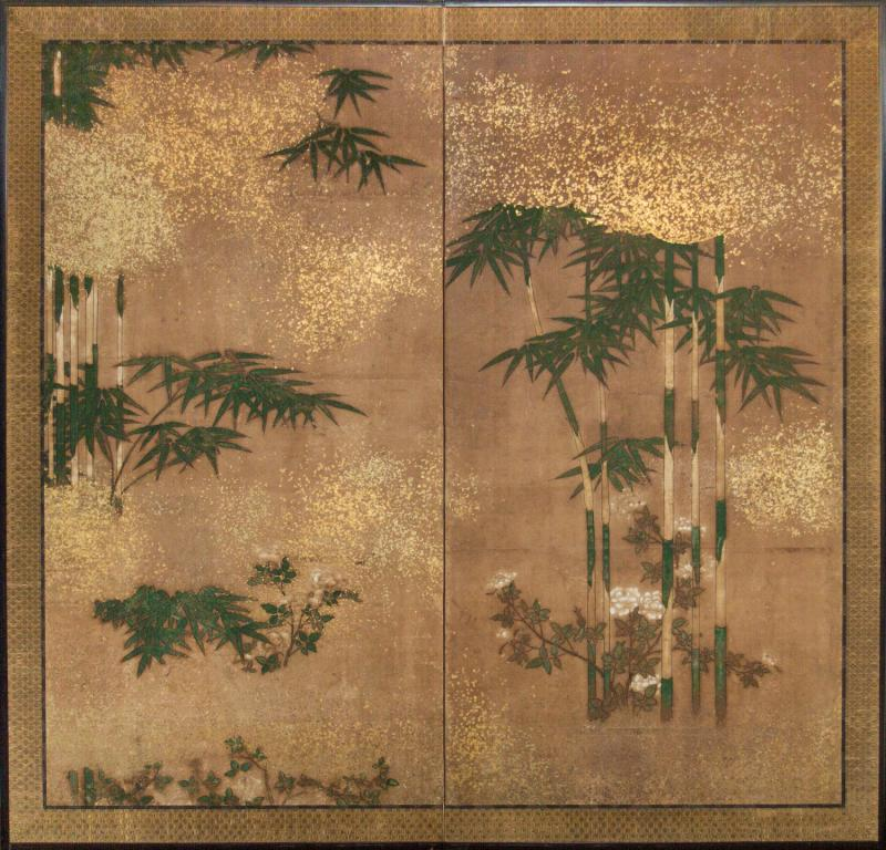 Japanese Two Panel Screen Bamboo Grove on Mulberry Paper with Gold Dust