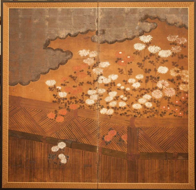 Japanese Two Panel Screen Chrysanthemums Over a Woven Reed Fence