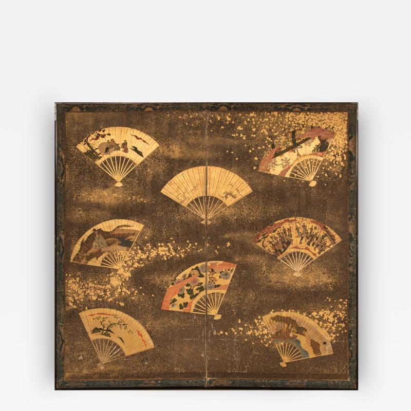 Japanese Two Panel Screen Collection of Fans on Gold