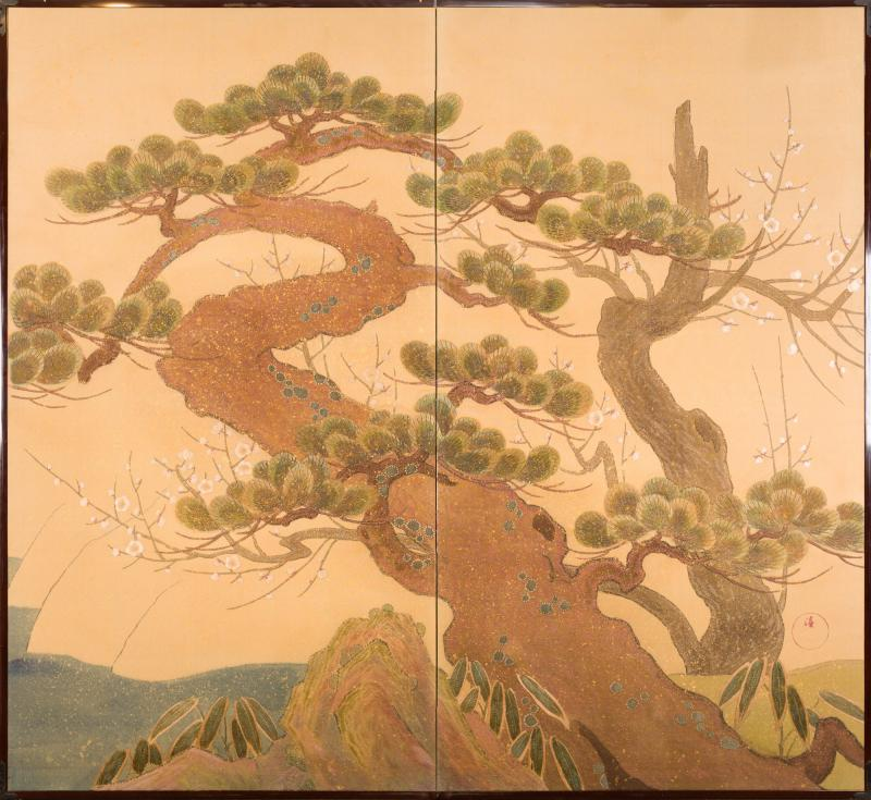 Japanese Two Panel Screen Embroidered Pine at Water s Edge