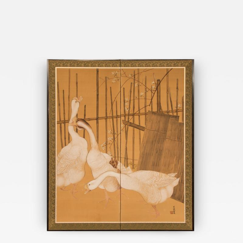 Japanese Two Panel Screen Farm Geese and Bamboo Fence