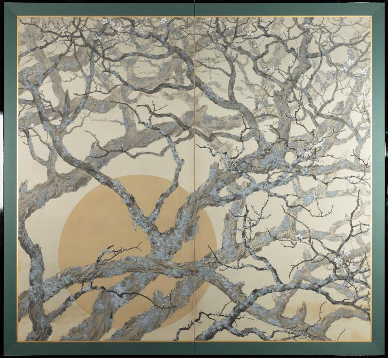 Japanese Two Panel Screen Full Moon Through Plum Orchard