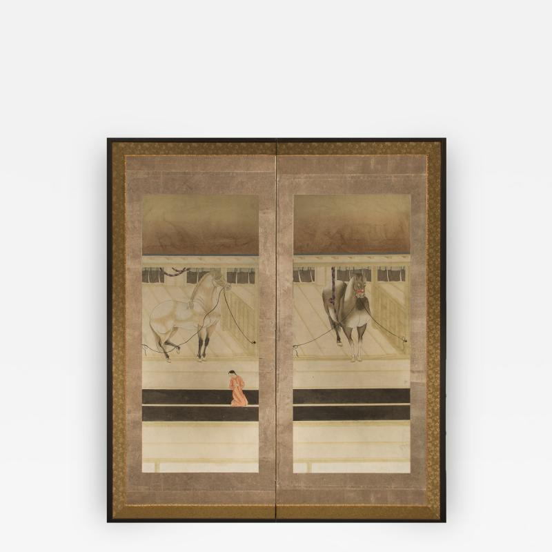 Japanese Two Panel Screen Horses in Stable with Attendant