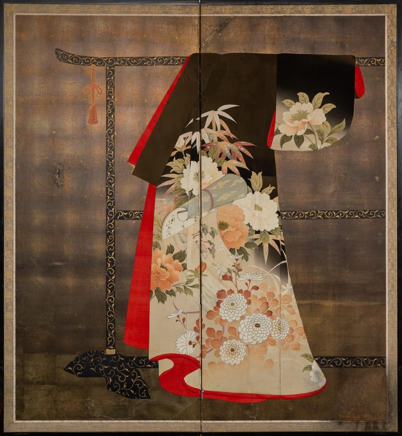 Japanese Two Panel Screen Kimono on Rack