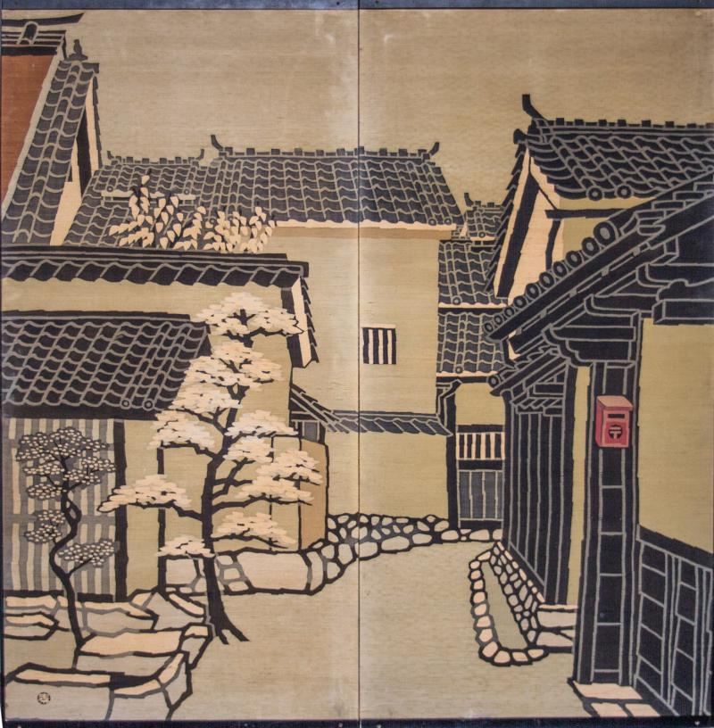 Japanese Two Panel Screen Kyoto Town Street Scene