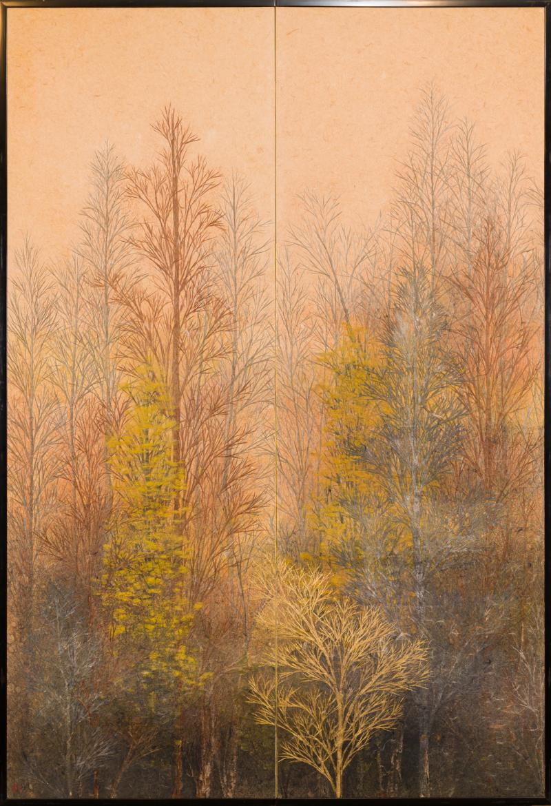Japanese Two Panel Screen Late Autumn Forest Rare Obara Paper Art Screen
