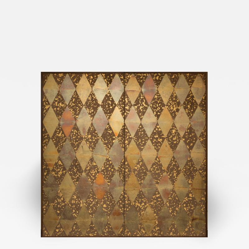 Japanese Two Panel Screen Mica Diamonds on Heavy Gold Fragments