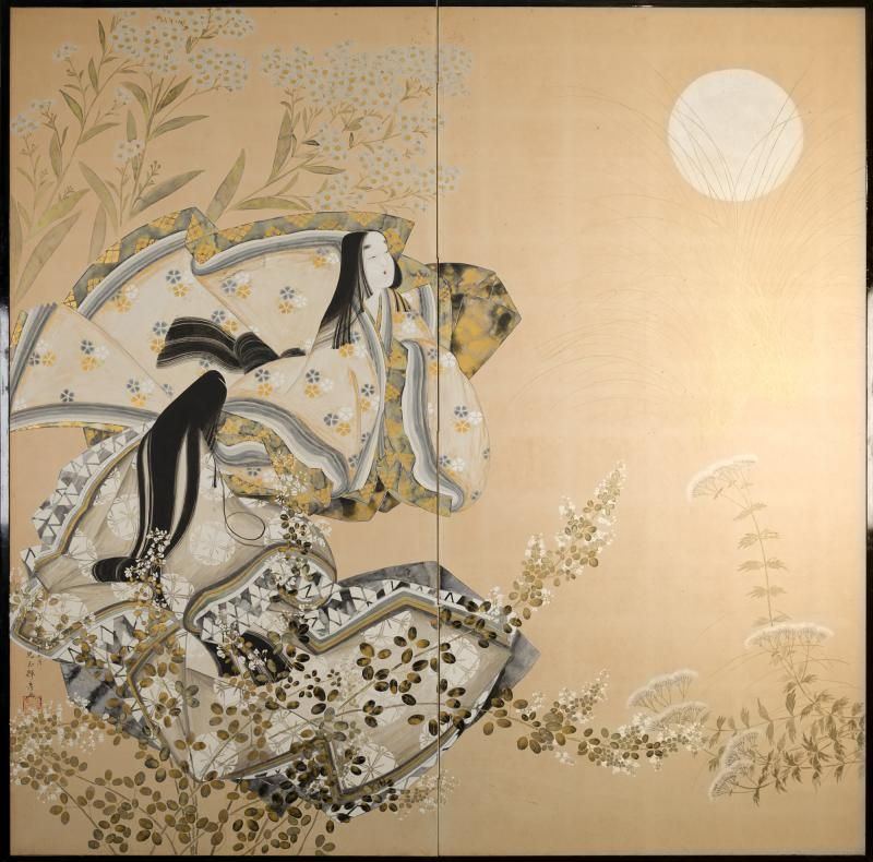 Japanese Two Panel Screen Moon Viewing