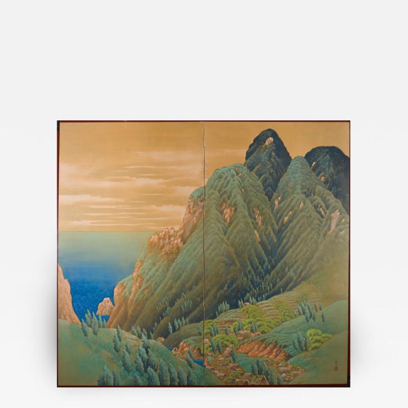 Japanese Two Panel Screen Mountain Seaside Village