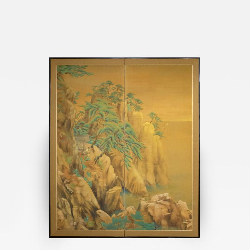 Japanese Two Panel Screen Mountain Shrine on Craggy Ledge