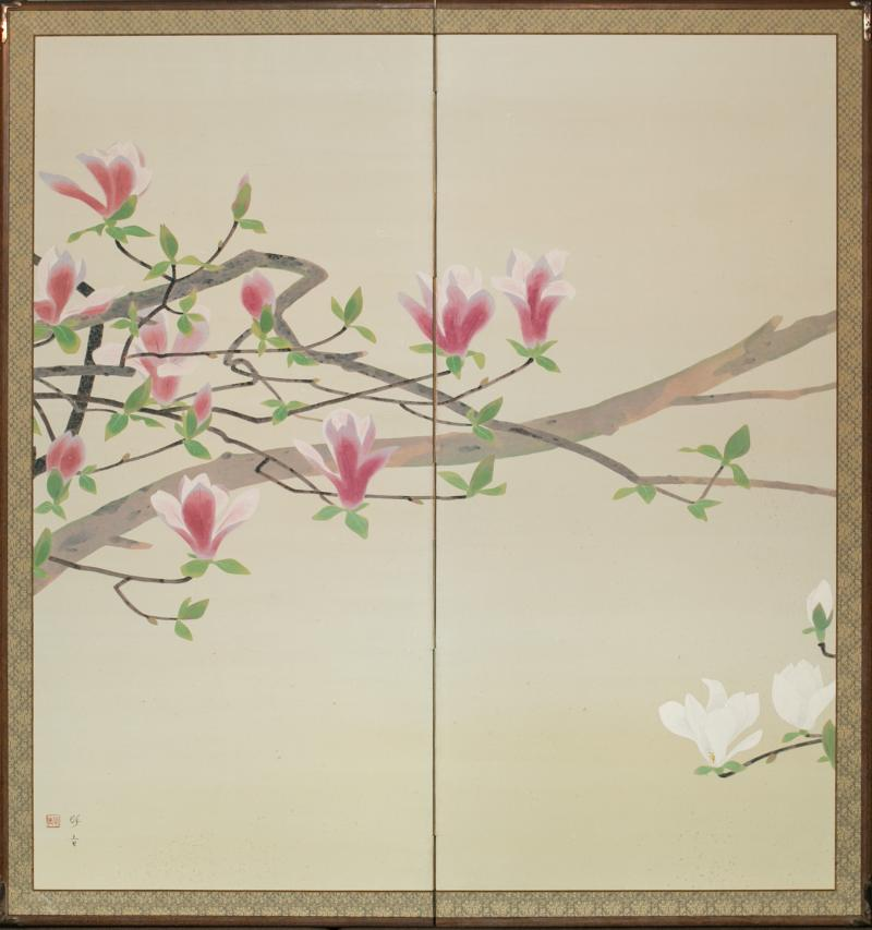 Japanese Two Panel Screen Pink and White Magnolias In Early Bloom