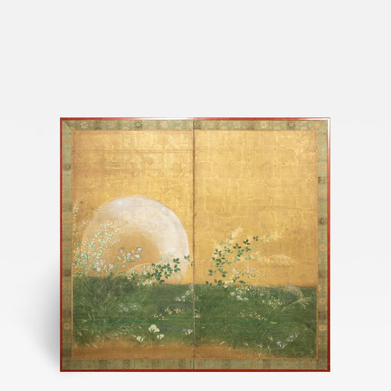 Japanese Two Panel Screen Plains of Musashino with Full Moon Rising