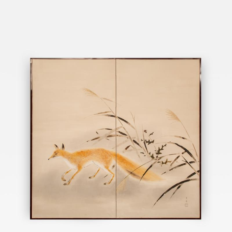 Japanese Two Panel Screen Red Fox and Thistle with Wild Grass